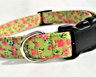 Spring Green with Pink Roses, Designer Dog Collar