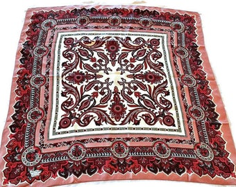 """Vintage Silk Scarf Liberty of London Made in England Pink Burgundy & White 24"""" X 24"""""""