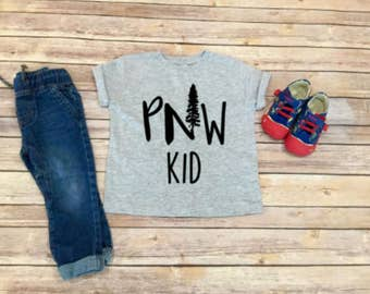 PNW Kid Shirt - Pacific Northwest - Kid Clothing - Toddler Shirt  - Unisex Toddler Clothing - Gift for Kid - Mountains - Evergreens