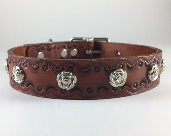 "Hand stamped leather dog collar 1"" width with rosette rivets"