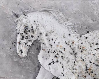 """Appaloosa One - Original Painting Acrylic on 1.5"""" deep gallery stretched canvas (edges painted) Impressionist Horse Wall Art, Neutral Color."""
