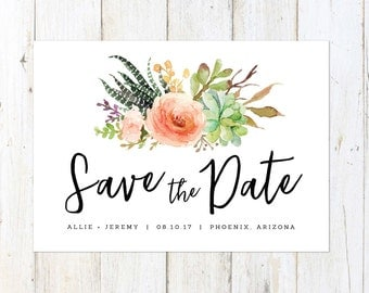 Succulent Save the Date, Desert Save the Date, Arizona Wedding, Palm Springs Save the Date