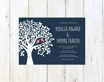 Navy and Coral Wedding Invitation, Birds in a Tree Wedding Invitation, Kissing Birds Invitation