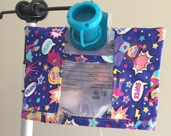 Super Hero Infinity Pump Bag Cover- Feeding Tube-Tubie-GTube Feeding Cover-JTube Feeding Bag Cover