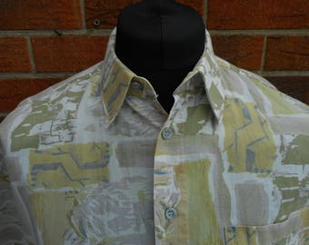 1980s loose fit cotton short sleeve summer abstract shirt