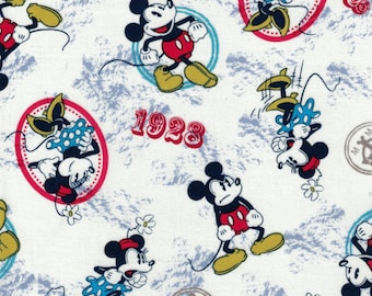 Vintage Mickey & Minnie Fabric- 1928 Mickey - Springs Creative- 100% Cotton Fabric