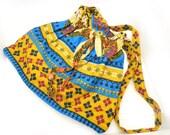 Ethnic Drawstring Shoulder Bag, Drawstring Purse, Tribal Print Handbag, Made in Rwanda, Made in Africa, Made by Ubushobozi