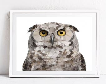 Owl print, owl picture, owl digital print, geometric owl picture, geometric owl print, owl decor, owl wall art, animal wall art, owl art