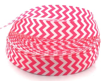 Pink Chevron Ribbon, Pink Chevron, Pink Ribbon, Pink Grosgrain, Pink Zig Zag Ribbon, Zig Zag Print Ribbon, Chevron Print Ribbon