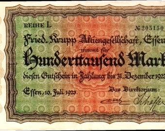 1923 Germany KRUPP / EFFEN  100.000  Mark