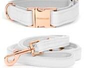 Dog collar MILK with rose gold colored hardware - handmade - minimal