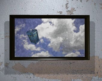 Doctor Who Tardis in Flight in Watercolor (Instant Download) - Printable - Tardis Wall art - Dr who - wall art - painting