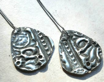 Rustic Earring Charms -Tinwork  with Copper-look Patina - 1 hole - 1 pair (CC18)