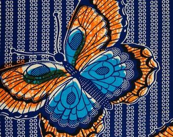African cotton Papillons Orange fabric