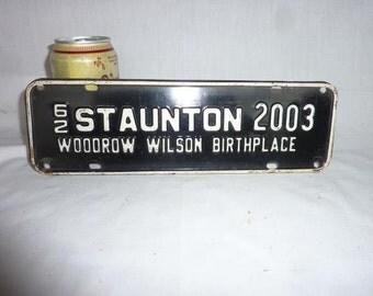 Vintage 1962 Staunton Virginia County Tax License Plate - Woodrow Wilson