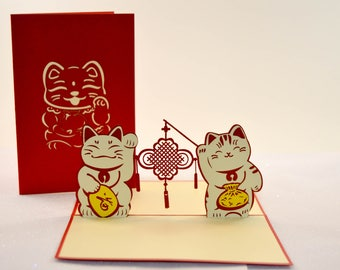 New Years - Lucky Money Bag Cat - Greeting Card - Love Card - Pop Up Card - Flower Card - Proposal - Paper Good