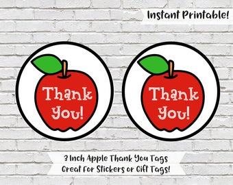 Apple Thank You Tags, Apple Party Favors, Teacher Thank You Gift Tags, Apple Cupcake Toppers, Apple Thank You Stickers, Teacher Gift