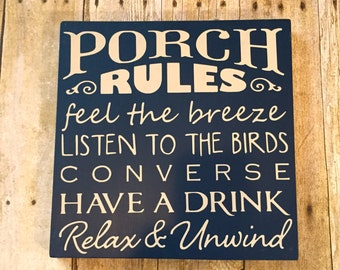 Porch Rules Wood Sign/Chalkboard Style/Last Minute Gift/Outdoor Decor/shelf sitter/ Navy/Sand/Porch Decor/Patio Decor