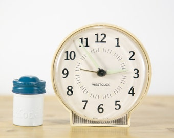 Vintage Westclox Glowing Wind Up Alarm Clock #CL9