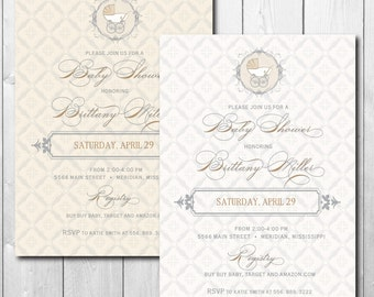 Elegant Baby Shower Invitation printable/gender neutral, baby girl shower, baby boy shower, gold, gray/Digital File/Wording can be changed