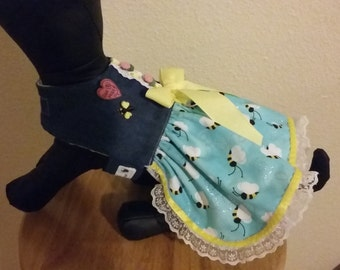 Dog Dress, Spring Dog Dress, Bumble Bee outfit