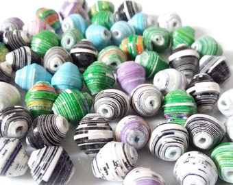 Recycled Paper Beads Bulk pack ( 30beads) with cow horn beads, african beads, green beads, Jewellery making beads,Eco Beads
