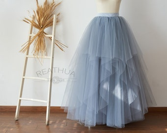 Dusty Blue Maxi Long Women Tulle Skirt/TUTU Tulle Skirt/Wedding Bridal Bridesmaid Skirt/Wedding Dress Underskirt Petticoat