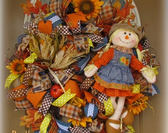 Scarecrow Mesh Wreath, Deco Mesh Wreath, Fall Mesh Wreath, Fall Wreath, Autumn Mesh Wreath