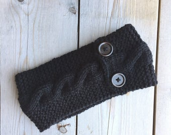 Knitted Cable Headband with Chestnut Buttons in Black