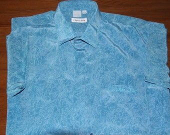 CHRISTAN DIOR Authentic Men Size L 41/42 Beautiful Turquoise Men Shirt // Christian Dior Vintage Sea Abstract Print 100% Silk Men Blouse