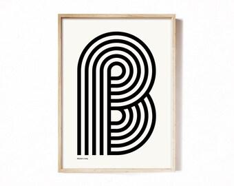 Letter B - modern typography alphabet print.