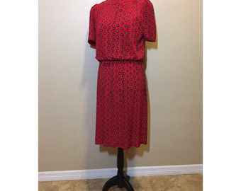 Vintage 1970s Red Dress | Vinatge Red Dress | 70s Red Dress