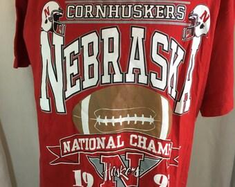 1995 Nebraska Cornhukers National Champs T-Shirt large