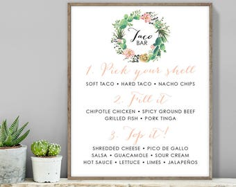 Cactus Taco Bar Sign / Tacos Sign / Cactus Succulent, Coral Flower Wreath, Mexican Fiesta ▷ Printable File {or} Printed & Shipped