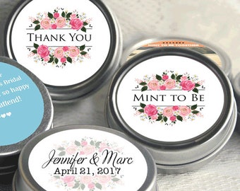 Mint to Be Wedding Favors - Personalized Wedding Mint Tins - Personalized Wedding Favors - Wedding Decor - Floral Pink - Thank You