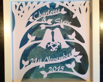 Personalised Framed Wedding/Anniversary/Engagement Papercut