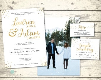 Elegant Gold LDS Wedding Invitation Package | Simple Gold Confetti Wedding Invite with Photo | RSVP Temple Ceremony  | Digital Printable