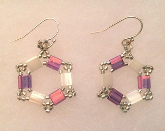 Tila Bead Earrings/Hexagon/Hand-woven