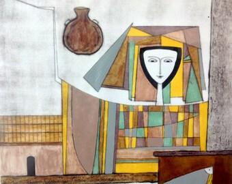 Vintage Fine Art Lithograph El Salvador Fernando Llort 1986 No. 66/100 Salvadoran Listed Artist Signed