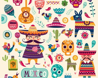 Colorful symbols of MEXICO. Fine art PRINT. Beautiful print for living room