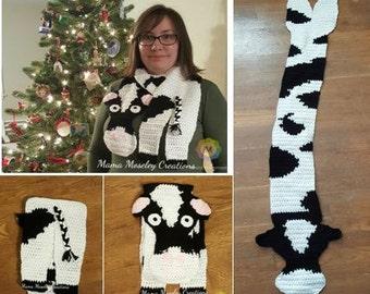 Crochet cow scarf