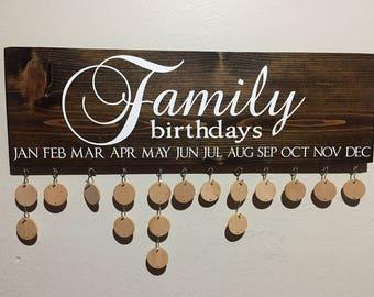 birthday board, family birthday sign, family birthday board, birthday board tag, family birthdays, family wooden sign, wooden birthday sign