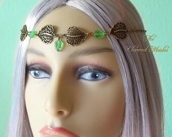 Elven Headpiece, Woodland Headdress, Forest Circlet, Pagan Headdress, Woodland Fairy Circlet, Green Leaf Headdress, Elf Tiara, Elfin Crown