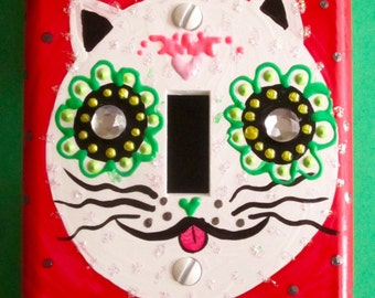 Day of the Dead Cat with bone bowtie single light switchplate