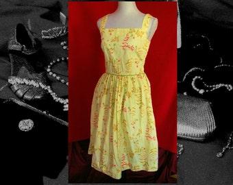 60s YELLOW SUN DRESS, sitcom sleeveless square neckline vintage fitted dress, womens vintage dress, ProperLadyVintagePro, hollywood dress