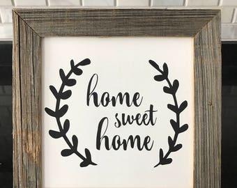 Home Sweet Home Framed Wood Sign | Housewarming Gift | Reclaimed Wood Sign | Rustic Wood Sign