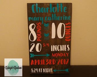 Birth Stat Wood Sign Custom