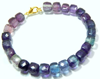 Fluorite Faceted Beads Cube Shape 10x8.5.mm Approx 100% Natural Top Quality Wholesale Price New Arrival