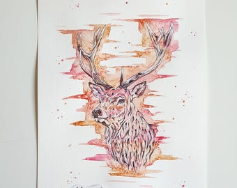 Watercolour Stag, stag art, stag painting, stag decor, stag wall art, woodland art, British wildlife, stag print, stag head, deer, woodland