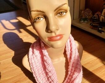 Pink basket knit cowl